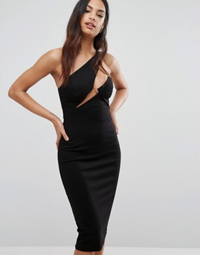 photo Cut Out Midi Dress with Slash Neckline by AQ/AQ, color Black - Image 1