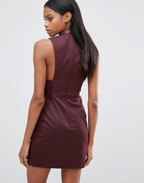 photo Bodycon Mini Dress by AQ/AQ, color Deep Fig - Image 2
