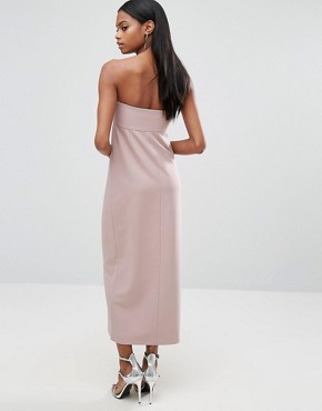 photo Split Front Midi Dress with Button Detail by AQ/AQ, color Rose Taupe - Image 2