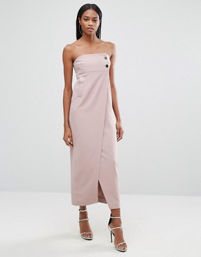 photo Split Front Midi Dress with Button Detail by AQ/AQ, color Rose Taupe - Image 1