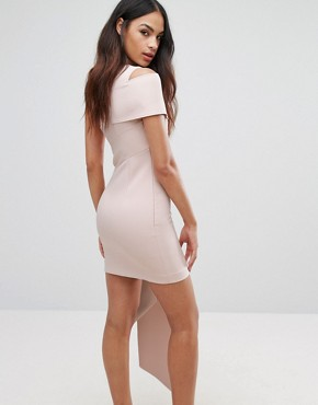 photo Asymmetric Mini Dress with One Sleeve and Drape Panel by AQ/AQ, color Pale Blush Pink - Image 2