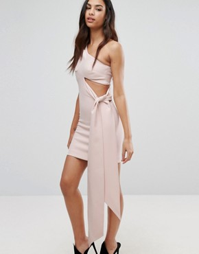 photo Asymmetric Mini Dress with One Sleeve and Drape Panel by AQ/AQ, color Pale Blush Pink - Image 1
