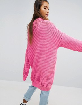 photo Oversized Jumper Dress In Chunky Rib by Mad But Magic, color Pink - Image 2
