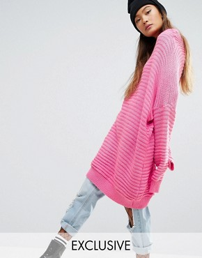 photo Oversized Jumper Dress In Chunky Rib by Mad But Magic, color Pink - Image 1