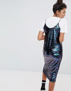 photo Sequin Cami Dress with Frill by Mad But Magic, color Purple - Image 2