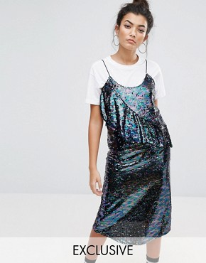 photo Sequin Cami Dress with Frill by Mad But Magic, color Purple - Image 1