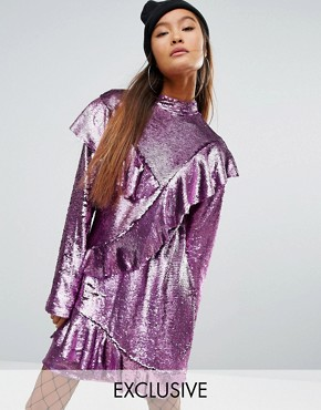 photo Sequin Dress with Frills by Mad But Magic, color Pink - Image 1