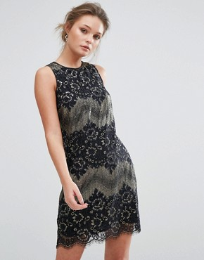 photo Metallic Shift Lace Dress by Oasis, color  - Image 1