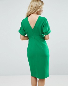 photo Smart Woven Dress with V Back and Split Front by ASOS PETITE, color Emerald Green - Image 2