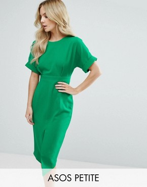 photo Smart Woven Dress with V Back and Split Front by ASOS PETITE, color Emerald Green - Image 1