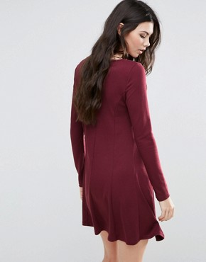 photo Long Sleeve Skater Dress by Vila, color Red - Image 2