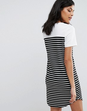 photo Striped T-Shirt Dress by Vila, color Snow White/Black - Image 2
