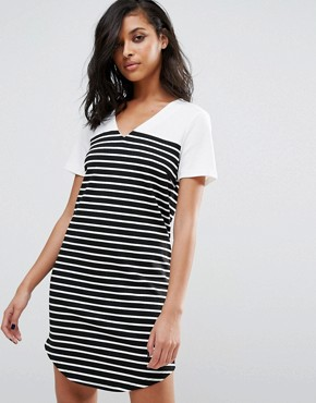photo Striped T-Shirt Dress by Vila, color Snow White/Black - Image 1