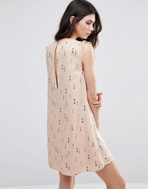photo Printed Skater Dress With Tie Sleeve by Vila, color Rugby Tan - Image 2