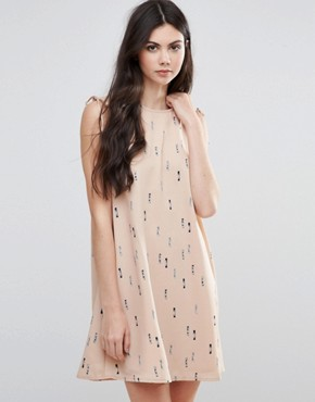 photo Printed Skater Dress With Tie Sleeve by Vila, color Rugby Tan - Image 1