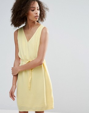 photo Belted Drawstring Dress by Vila, color Pale Yellow - Image 1