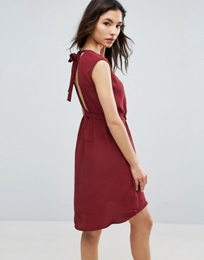 photo Button Through Mini Tea Dress by ASOS, color Wine - Image 2