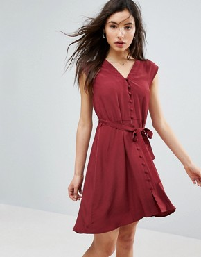photo Button Through Mini Tea Dress by ASOS, color Wine - Image 1