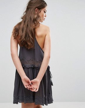 photo Two For Tea A-Line Mini Dress by Free People, color Charcoal - Image 2