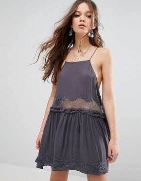 photo Two For Tea A-Line Mini Dress by Free People, color Charcoal - Image 1