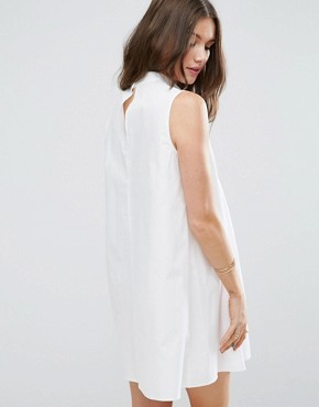 photo Sleeveless Pleated Shirt Dress by ASOS, color White - Image 2