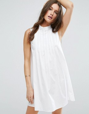 photo Sleeveless Pleated Shirt Dress by ASOS, color White - Image 1