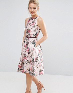 photo Blossom Jacquard Dress with V-Back by Ted Baker, color Pink - Image 2
