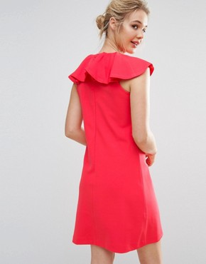 photo Frill Detail Dress by Ted Baker, color Coral - Image 2