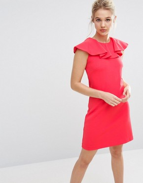 photo Frill Detail Dress by Ted Baker, color Coral - Image 1