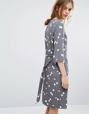 photo Polka Dot Dress by Selected, color Smoked Pearl - Image 2