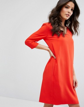 photo Tunic Shift Dress by Selected, color Flame Scarlet - Image 1