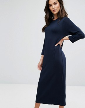 photo Knit Midi Dress by Selected, color Dark Sapphire - Image 1