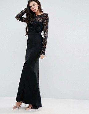 photo Fishtail Maxi Dress with Lace Sleeves and Bow Back by City Goddess Tall, color Black - Image 2
