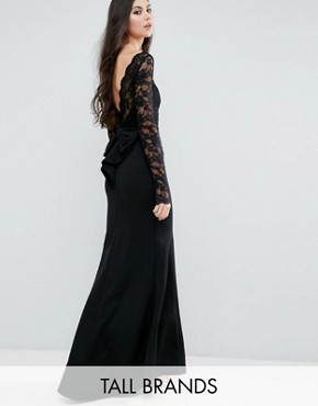 photo Fishtail Maxi Dress with Lace Sleeves and Bow Back by City Goddess Tall, color Black - Image 1