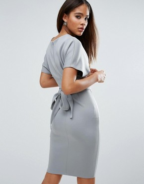 photo Pencil Dress with Tie Waist by City Goddess Tall, color Grey - Image 2