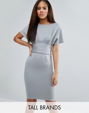 photo Pencil Dress with Tie Waist by City Goddess Tall, color Grey - Image 1