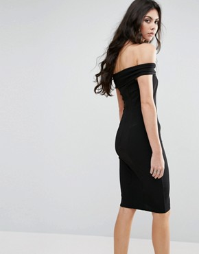 photo Bardot Dress with Bow Detail by City Goddess Tall, color Black - Image 2