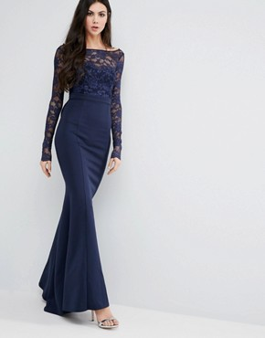 photo Fishtail Maxi Dress with Lace Sleeves and Bow Back by City Goddess Tall, color Navy - Image 2