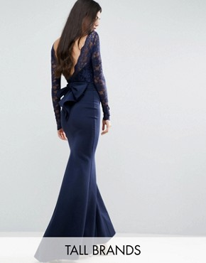 photo Fishtail Maxi Dress with Lace Sleeves and Bow Back by City Goddess Tall, color Navy - Image 1