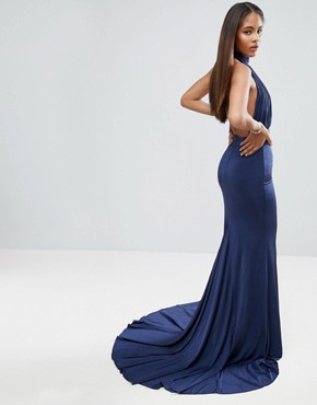 photo Maxi Dress with Open Back by City Goddess Tall, color Navy - Image 2