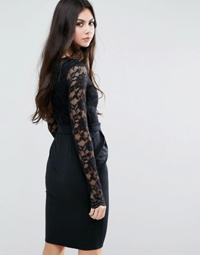 photo Pencil Dress with Lace Top by City Goddess Tall, color Black - Image 2