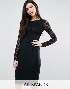 photo Pencil Dress with Lace Top by City Goddess Tall, color Black - Image 1