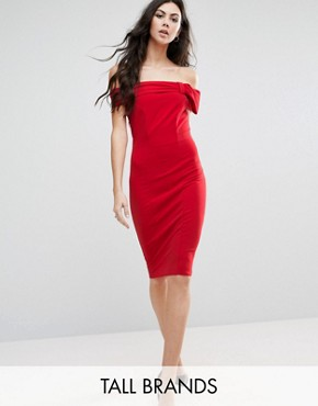 photo Bardot Dress with Bow Detail by City Goddess Tall, color Red - Image 1
