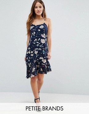 photo Cami Dress with Drop Frill Hem by Yumi Petite, color Navy - Image 1