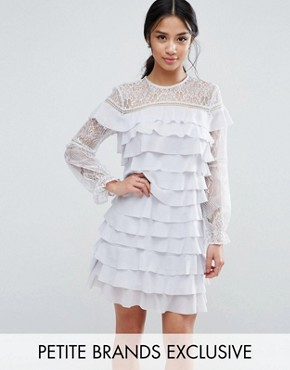 photo All Over Ruffle and Lace Mini Dress by True Decadence Petite, color Lilac Grey - Image 1