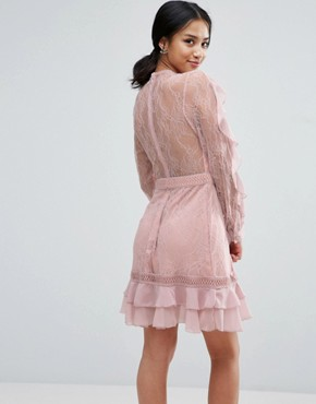 photo Long Sleeve All Over Lace Dress with Frill Detail by True Decadence Petite, color Pink - Image 2