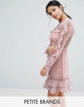 photo Long Sleeve All Over Lace Dress with Frill Detail by True Decadence Petite, color Pink - Image 1