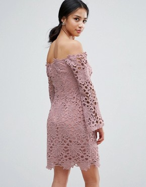 photo Bardot Cutwork Lace Mini Dress by True Decadence Petite, color Mauve - Image 2