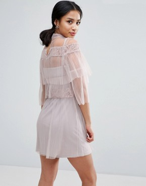 photo All Over Lace And Ruffle Pleated Mini Dress by True Decadence Petite, color Nude - Image 2