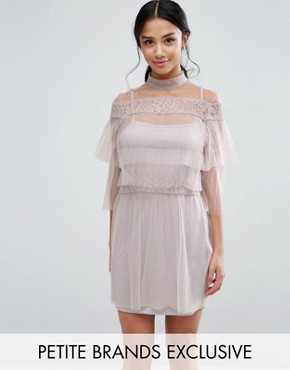 photo All Over Lace And Ruffle Pleated Mini Dress by True Decadence Petite, color Nude - Image 1